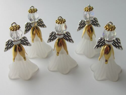 6  Angel Guardian Charms Pendants  glass Xmas wedding christening golden white