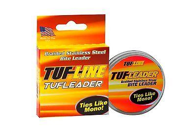 TUF LINE Tufleader Braided Stainless Steel Wire Leader Ties Like Mono 5m Spools