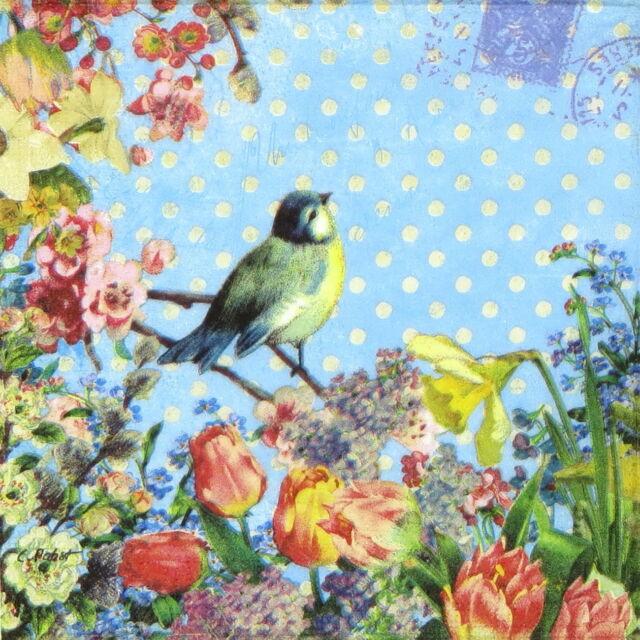 4x Paper Napkins for Decoupage Bird yellow dots