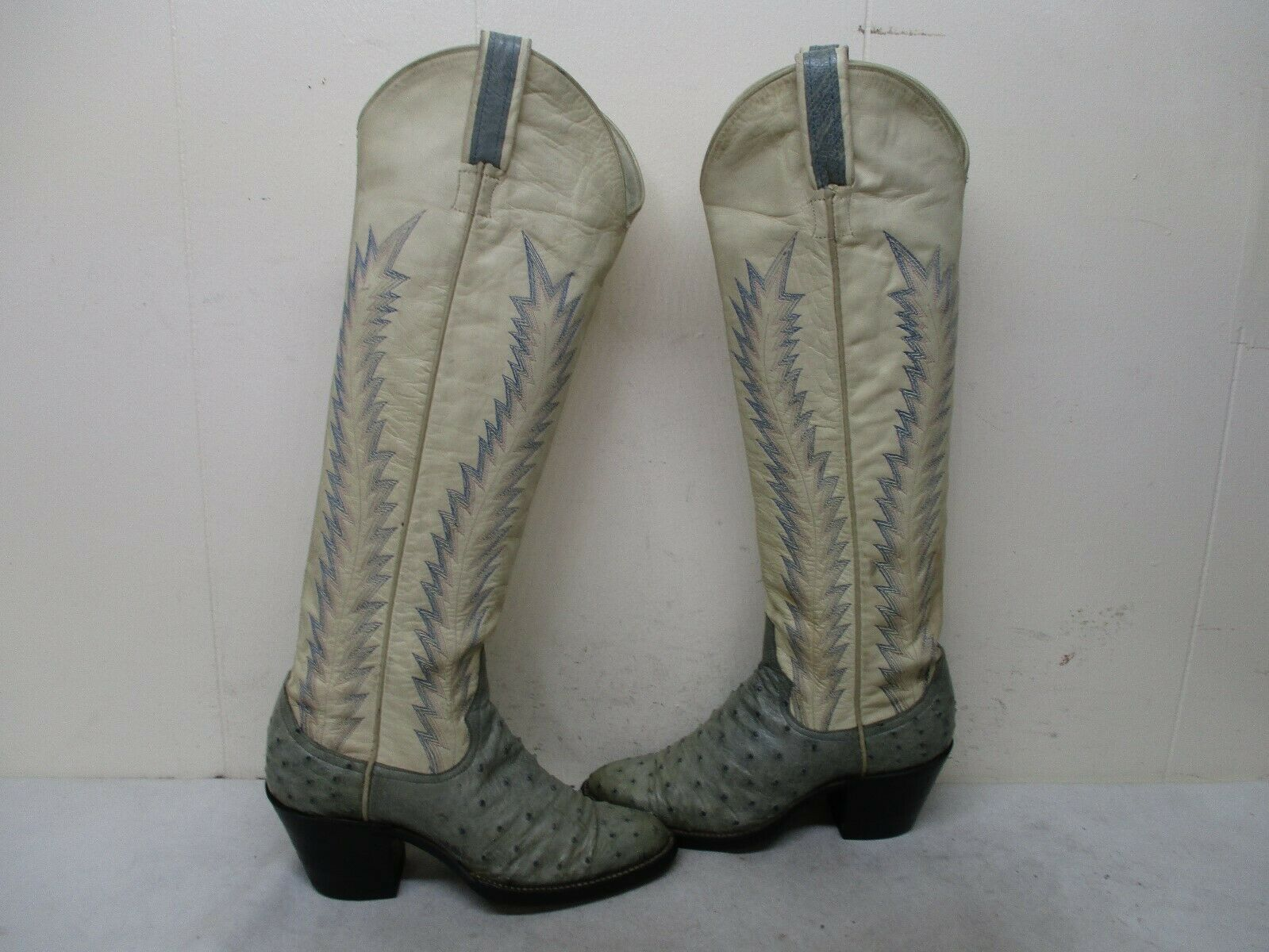 Larry Mahan Full Quill Ostrich Leather Tall Vintage Cowboy Boots Womens Sz 5 B