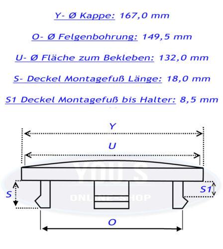 4 COPRIMOZZO COPERCHIO MOZZO senza logo-esterno 167,0 interno 149,5 mm per Audi /& VW
