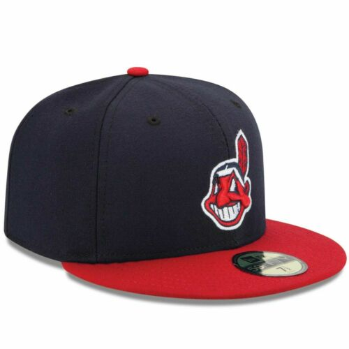 Mens Cleveland Indians New Era Navy//Red Authentic 59FIFTY Fitted Hat Low Profile
