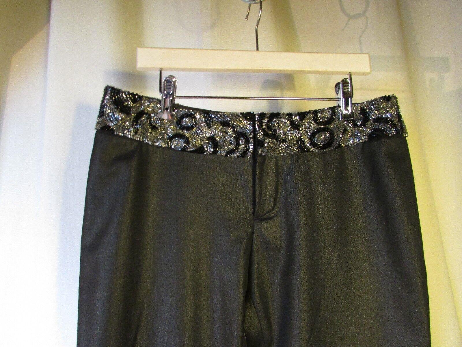 Pantalon VERSACE  jeans couture nero brillant brillant brillant ceinturé de perles Dimensione 26 40 a17e88