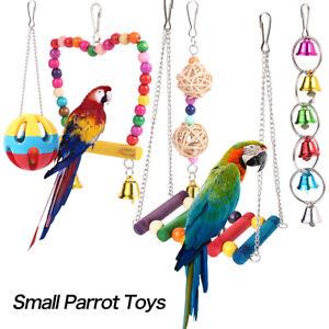 5pezzi-Pappagallo-peluche-giocattolo-gabbia-per-uccelli-appesi-giocattolo-legno