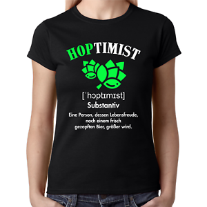 HOPTIMIST-Bier-Spass-Comedy-Sprueche-Lustig-Fun-Party-Lady-Damen-Girlie-T-Shirt
