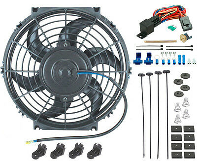 """12/""""Electric Cooling Fan /&12 Volt Push-In Radiator Fin Probe Thermostat Kit Black"""