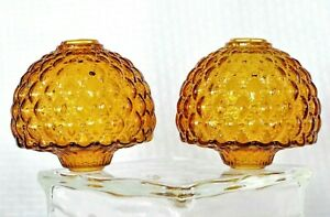 Vintage-Mid-Century-Modern-Quilted-Art-Glass-Amber-Globe-Shade-Gone-With-Wind