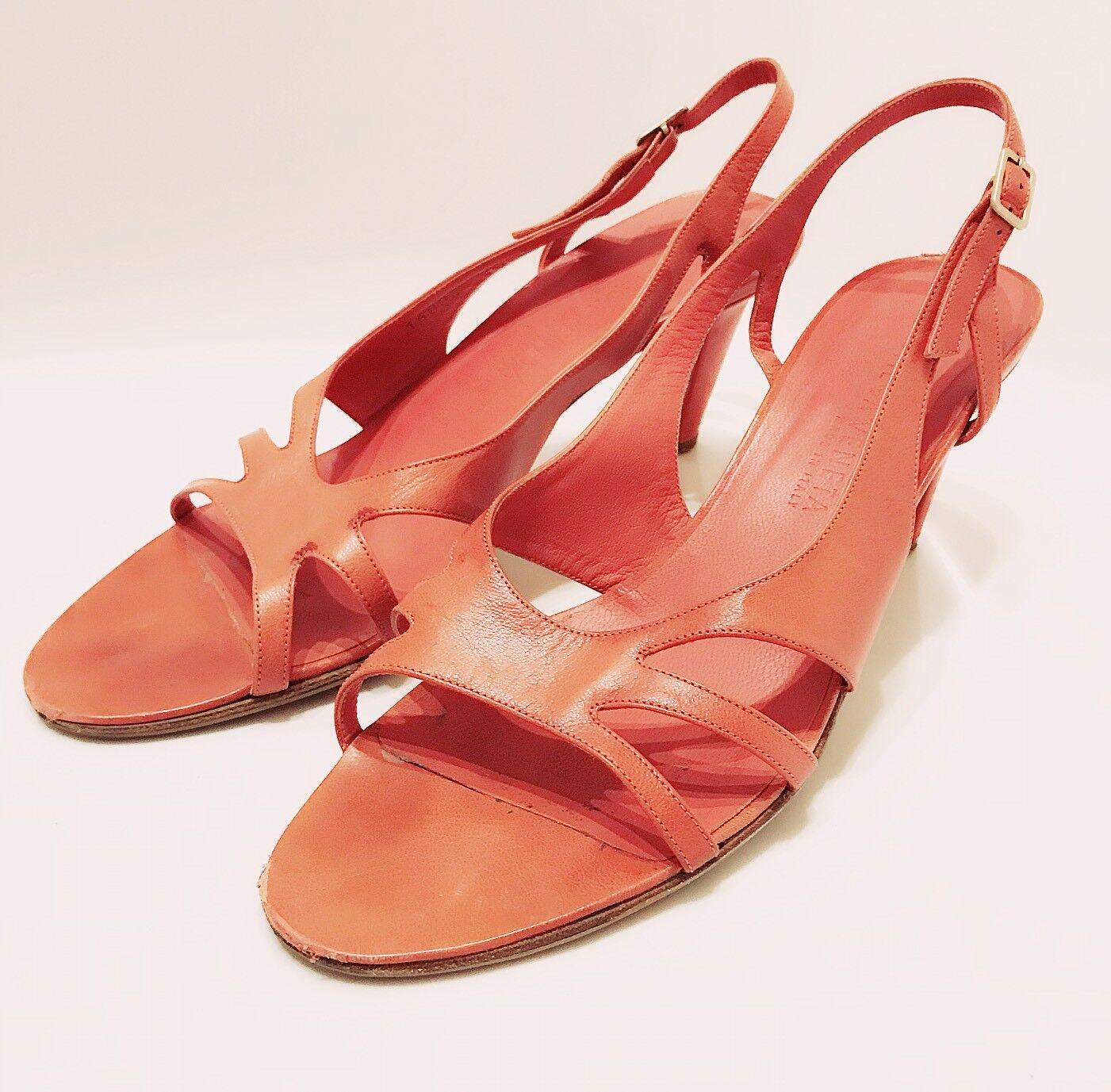 BOTTEGA Heel VENETA Coral Red Pelle Stencil Cut Out High Heel BOTTEGA Slingback Sandals 8.5 d802f1