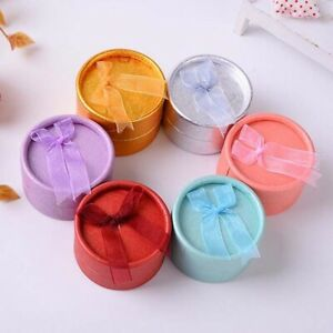 1-PC-Round-Jewelry-Box-With-Knot-Earring-amp-Ring-Display-Gift-Box-Jewelry-Case-yz