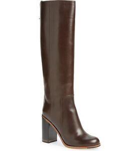 5f74faead36 NIB FENDI Goldmine Knee High Boots Dark BROWN Leather Block Heel Sz ...
