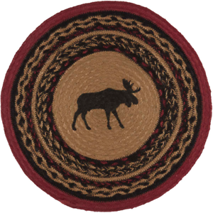 Country-Rustic-Lodge-Cabin-MOOSE-Braided-Jute-13-034-Tablemat-Trivet