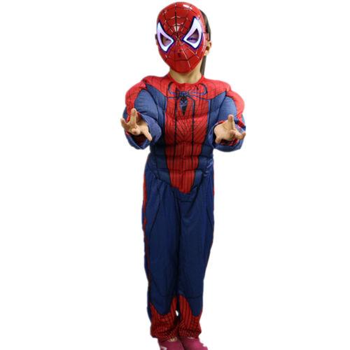 Super Man Hero Avengers Kids Jumpsuits Boy Girls Mask Halloween Cosplay Costume