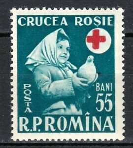 Romania 1957 MNH Mi 1665 Sc 1178 Girl holding dove.Red Cross.Medicine.health **