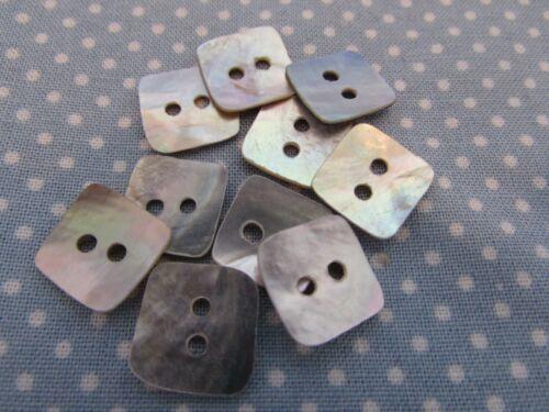 10mm Madre de Perla Concha Botones Cuadrado 2 agujeros fregona en envases de 2 5 y 10