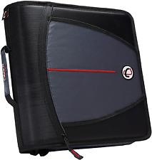 Mighty Zip Tab Zipper Binder 3 Inch 5 Pocket Folder 600 Sheet Capacity Black