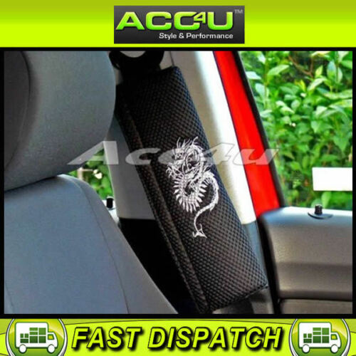 Black Grey Dragon Car Seat Belt Shoulder Harness Pads