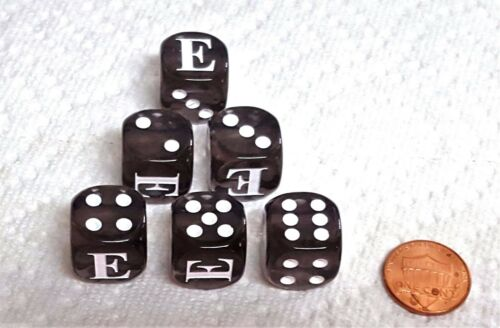 """*SIX* CHX CUSTOM LETTER /""""E/"""" on 16mm TL SMOKE with WHITE /""""E/"""" and PIPS DICE"""