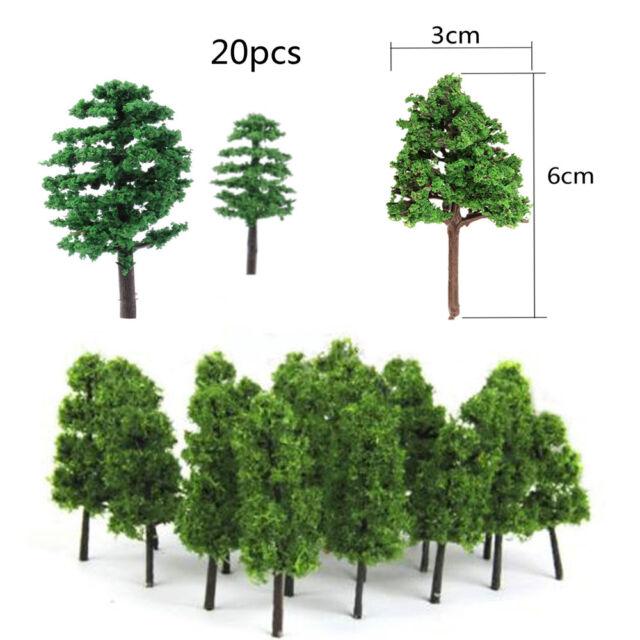 20Pcs Model Tree Train Railroad Diorama Wargame Park Scenery HO scale Mini