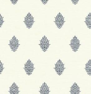 Wallpaper-Designer-French-Country-Navy-Little-Paisley-Spot-on-Eggshell-White