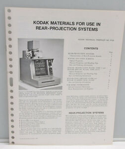 Kodak Materials Rear-Projection Systems P-30 1971 Info Pamphlet Booklet - B127