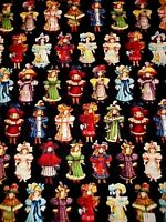 Cotton Fabric Victorian Paper Dolls Small Girls Repro Print Blue Hill By 1/2 Yd