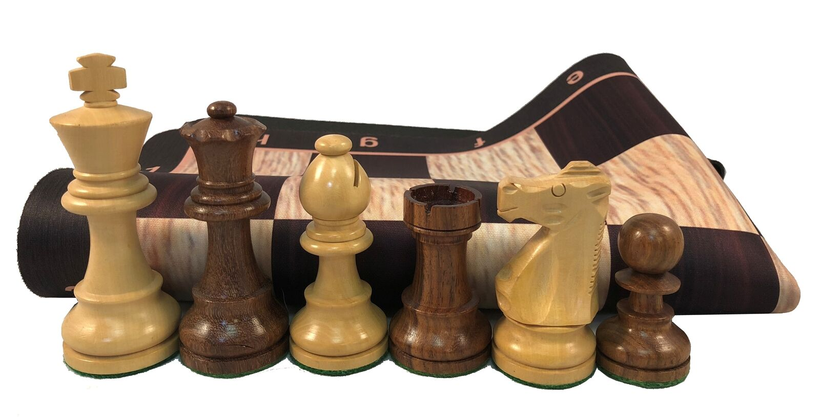 Wood Tournament Chess Pieces & Pro Floppy Chess Board