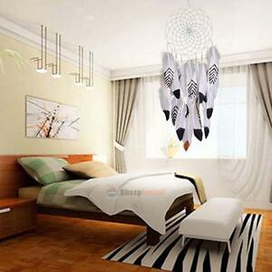 Dream Catcher Circular With White Feathers Wall Hanging Decoration Decor Craft