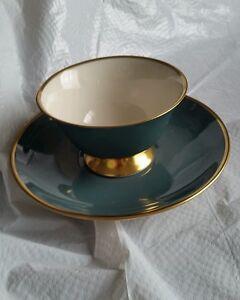 Flintridge-China-Cup-Saucer-Green-Gold-Rim