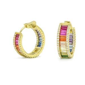 14K-Gold-Sterling-Silver-Square-Blue-Sapphire-Multi-Gem-amp-Diamond-Hoop-Earrings