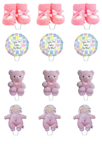 Stand-up Fairy Decorations Pink Baby Shower Twin Girls Edible Cup Cake Toppers