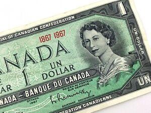 1967-Canada-Centennial-1-One-Dollar-Circulated-Canadian-Elizabeth-Banknote-M239