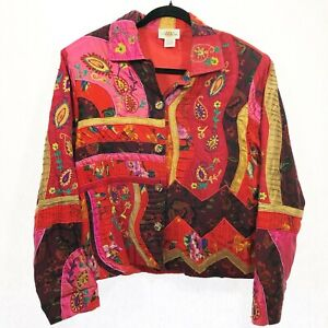 SANDY-STARKMAN-ART-TO-WEAR-size-L-Beaded-Embroidered-Bright-Floral-Paisley-Silk