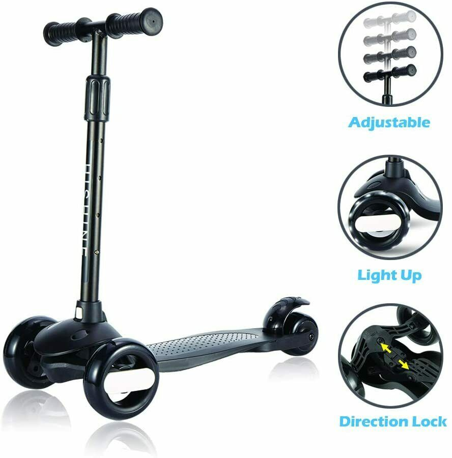 Black Kick Scooter for Kids with 3 Big Light Up Wheels Adjustable Height
