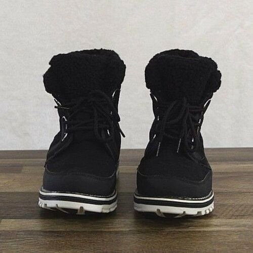 Polar Boot Womens 8 MED Waterproof Snow Winter Hiking Fleece Ankle Boots Black