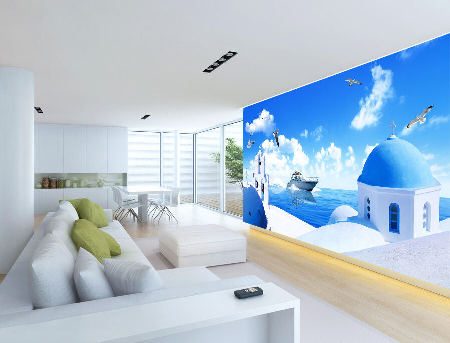 3D Ocean boat house Wall Paper wall Print Decal Wall Deco Indoor wall Mural