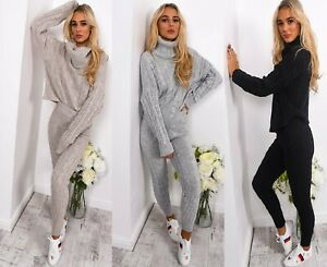 Womens-Ladies-Cable-Knitted-High-Roll-Neck-Top-Bottom-Lounge-Wear-Tracksuit-Set