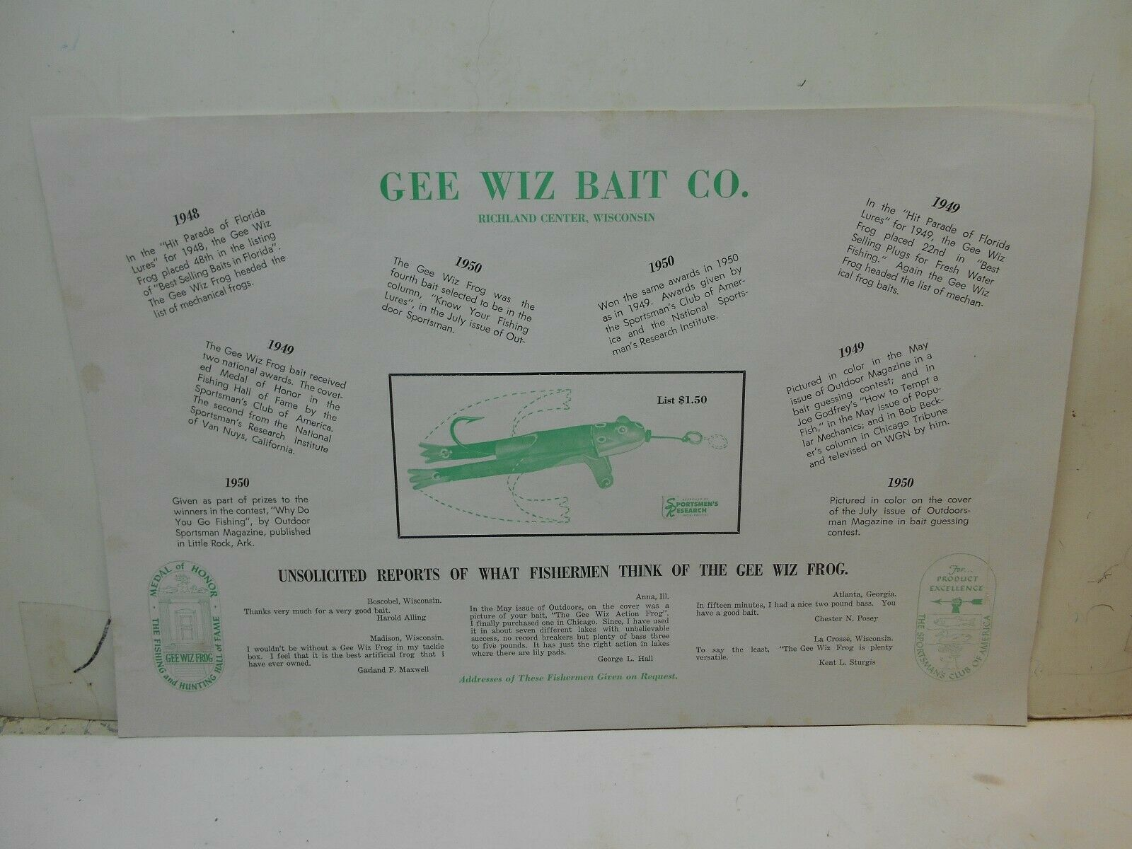 Vintage Gee Wiz bait comp Richland Center WI. adv  poster fish bait adv  cheap and fashion