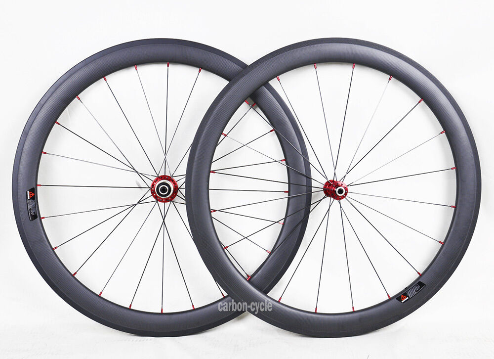 1415g 50mm Sapim Carbon Tubular Wheelset Road Bike 700C 3k Matt Rim Novatec