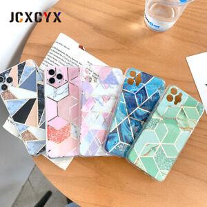 Fundas silicona Iphone 11 Pro SE X XR XS 8 7 6 6S Mármol geométrica rombos
