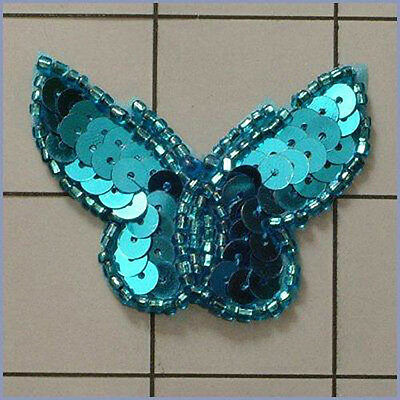 SEQUIN BEADED BUTTERFLY APPLIQUE 0414-T1