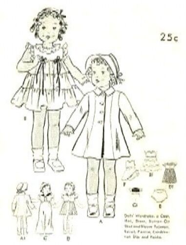 "VINTAGE 20"" SHIRLEY TEMPLE DOLL CLOTHES PATTERN 447"