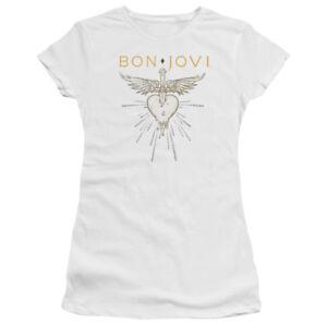 BON JOVI 1987 Licensed Women /& Junior Graphic Band Tee Shirt and V-Neck SM-2XL