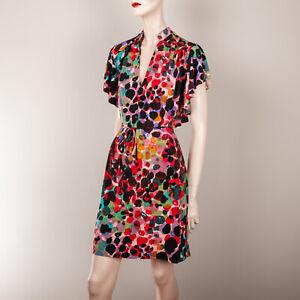 Lily Damen Kleid S 36 38 Pink Schwarz Bunt Gemustert Flatterarmel Sommerkleid Ebay