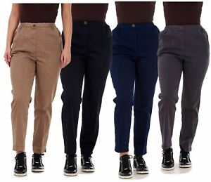 Ladies-Women-Trousers-Rayon-Cotton-Pockets-Elasticated-Stretch-Black-pants-8-24