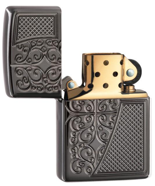 Zippo #29498 Old Royal Filigree Lighter Black Ice