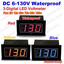 Waterproof Dc 6v 130v 3 Digital Led Voltage Test Meter Voltmeter Gauge Battery