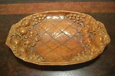 Vintage Burwood Resin Faux Wood Serving Tray Bowl Dish Grapes and Leaves 11 x 7""