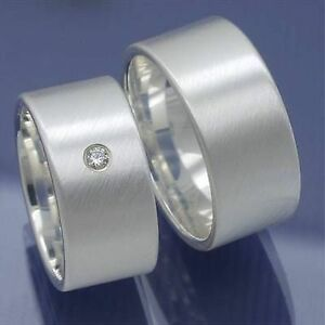 1-Paar-Silber-Verlobungsringe-Freundschaftsringe-Antragsringe