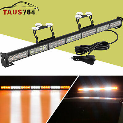 White//Blue V-SEK 28 LED 31.5 Hazard Emergency Warning Tow Traffic Advisor Flash Strobe Light Bar with Cigar Lighter and Suction Cups