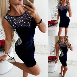 Sexy-Women-039-s-Sleeveless-Rhinestone-Bodycon-Dresses-Clubwear-Party-Mini-Dress